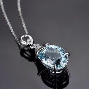 "Luxury Blue Topaz Drop Cut Pendant Necklace 18"" Ch"